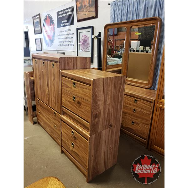 Bedroom Suite - 5pc (Dresser, Bed Side Night Stands (2), Headboard, Armoire, Queen Size Bed Frame) .