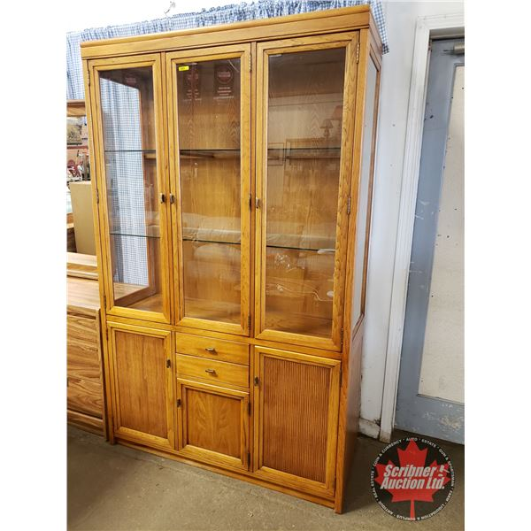"""Oak China Cabinet - Lighted with Underneath Storage (78""""H x 49""""W x 17""""D) (NOTE: Lot 1255, 1277, 1278"""