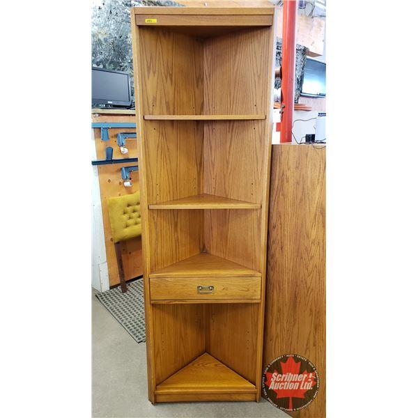 """Oak Corner Curio Unit - 4 Shelves / 1 Drawer (77""""H x 24""""W x 12""""D)(NOTE: Lot 1255, 1277, 1278 & 1279"""