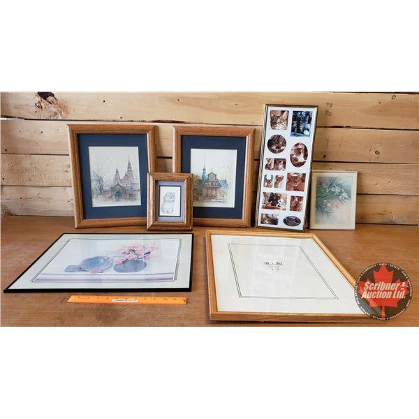 Box Lot: Asst'd Framed Pictures / Frames (SEE PICS!)