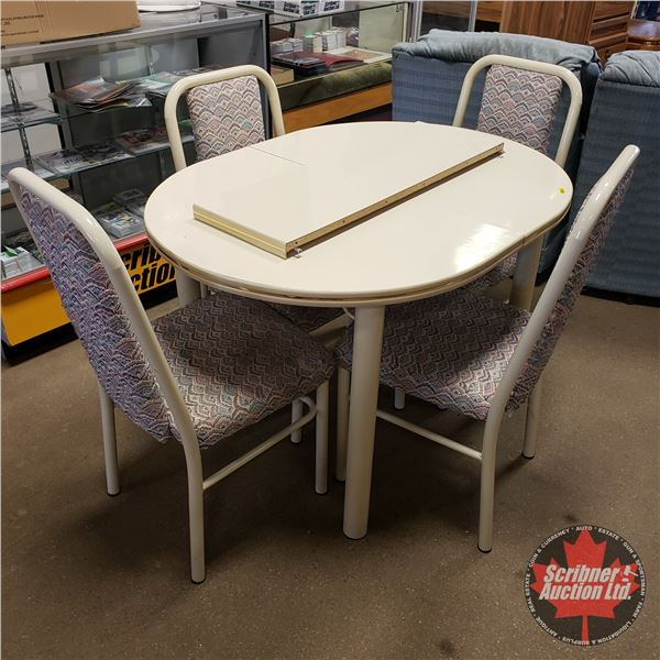 """Kitchen Table / 4 Chairs w/1 Leaf (30-1/2""""H x 45""""L x 36""""W w/o Leaf) (57""""L with Leaf)"""