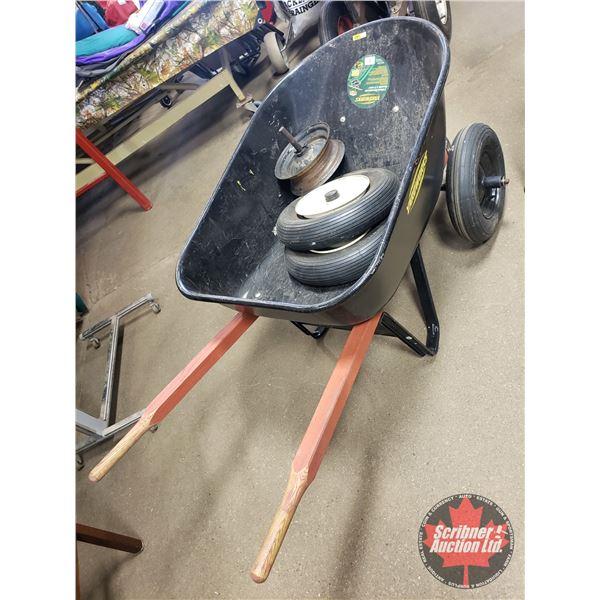 Yardworks Wheel Barrow - 2 Wheel (with Bonus 2 Tires & 3 Rims)!! (SEE PICS!)