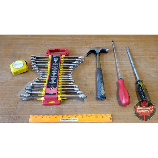 Tray Lot: Wrench Set, Hammer, Screw Drivers, Tape Measure