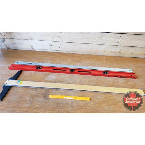 """Level, Aluminum Measuring Stick & 42"""" T-Square"""