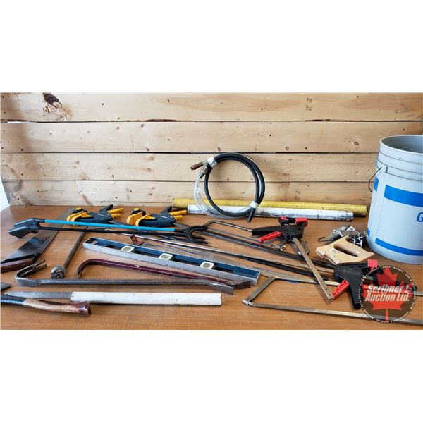 Pail Lot: Bar Clamps, Level, Pry Bars, Hand Saws, Grabbers, etc