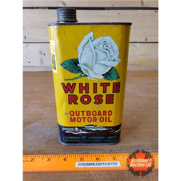 """Wild Rose Outboard Motor Oil Tin (FULL) (Total Height: 8-1/2"""")"""