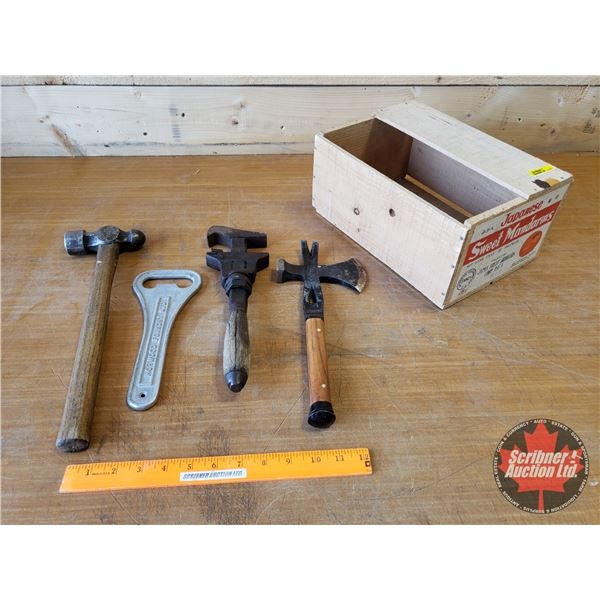 Wooden Box Lot: Antique Tools (Wrench, Hammer, Crate Opener, etc) (SEE PICS!)