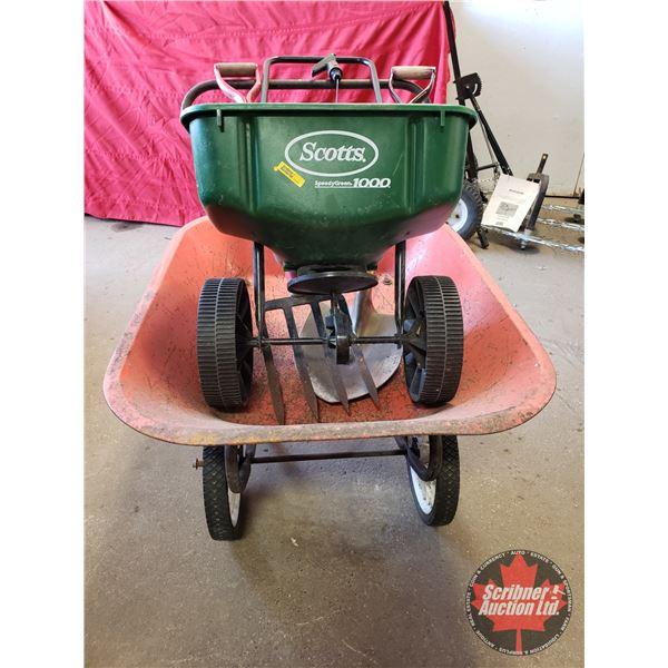 Gardener's Combo: 2 Wheel Wheelbarrow, Scott's Grass Seeder, Spade, Potato Fork & Mini Garden Tool S