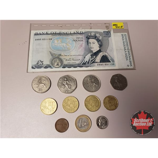 FOREIGN Bills (2) & Coins (11) : England & Swiss Notes & Variety Coins .. Variety Years (SEE PICS!)