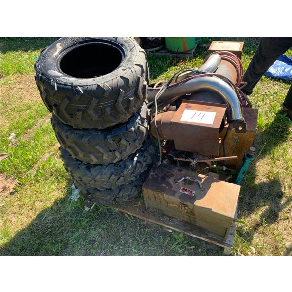 Pallet - ATV tires, propane heater,