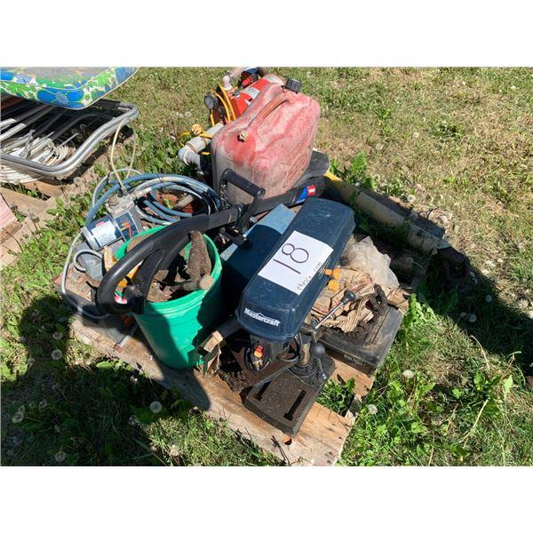 Pallet, Drill press, pressure tank w/pump