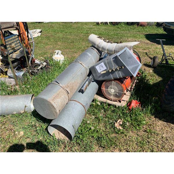 Bin fans, aeration tubes, auger spouts