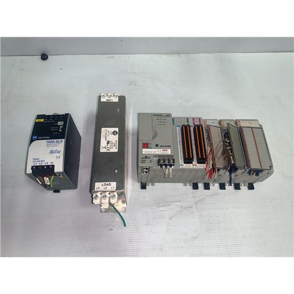 Lot of Allen Bradley Items Including Allen-Bradley Rack w/Modules, Power Supply & Line Filter