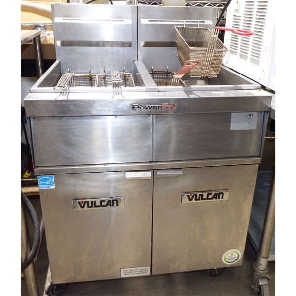 Used Vulcan 2VK45AF-1 PowerFry5 Natural Gas 90-100 lb. 2 Unit Floor Fryer System with Solid State