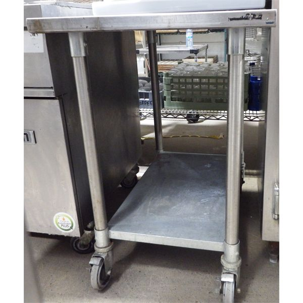"""Used 24"""" x 30"""" Stainless Steel Work Station on Casters"""