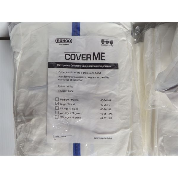 Lot of 12 New Ronco Cover Me - MicroPorous Coverall - Size L (incl Hood)