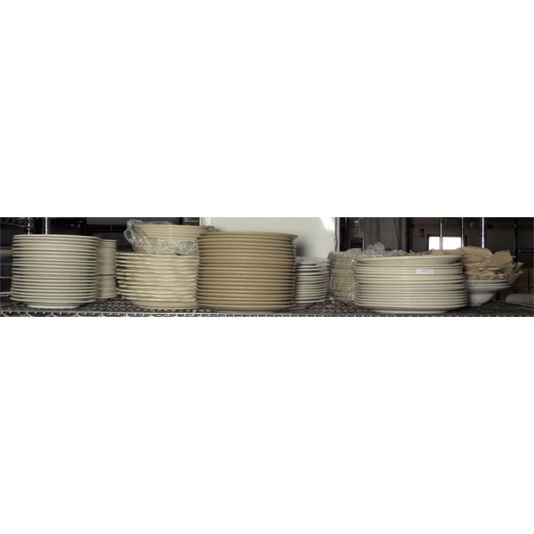 Entire Shelf of Used Plates and Serving Dishes - Approx 130