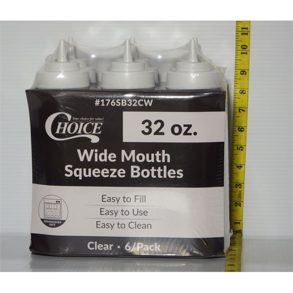 Lot of 6 New 32oz Squeeze Out Bottles - Clear White