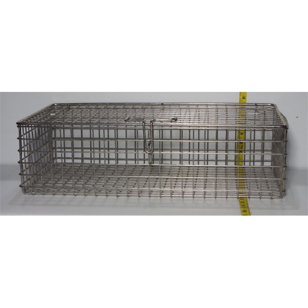 """Used Stainless Steel Wire Bin, Lid Attached with Latch - 25"""" W x 13"""" D x 7"""" H"""