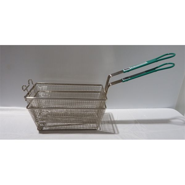 "Lot of 2 New Fryer Baskets - Green Handle 12 7/8"" x 6 1/2"" x 5 3/8"""