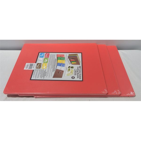 """New Lot of 3 Red Cutting Boards 15"""" x 20"""" x 1/2"""""""