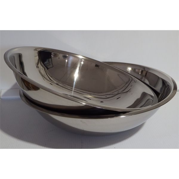 Lot of 2 New - 20 Qt Stainless Steel Mixing Bowls HD