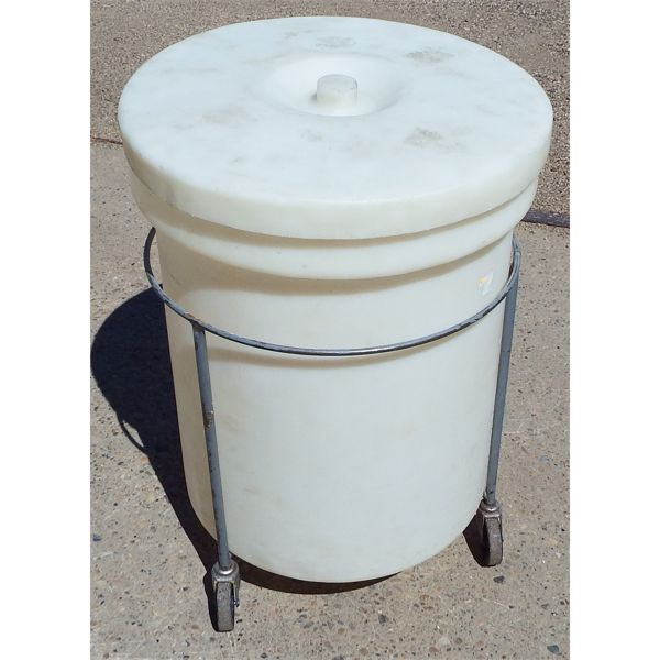 """Used 20 Gal (Approx) Dry Goods Bin on HD Rack with Casters - 20"""" W x 29 1/2"""" H"""