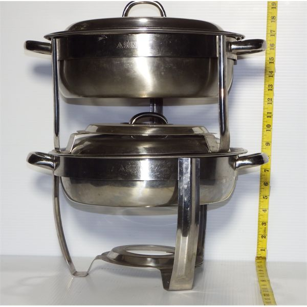 """Lot of 2 Round Chafing Dishes with Lids - 1-2"""" D, 1-4"""" D"""
