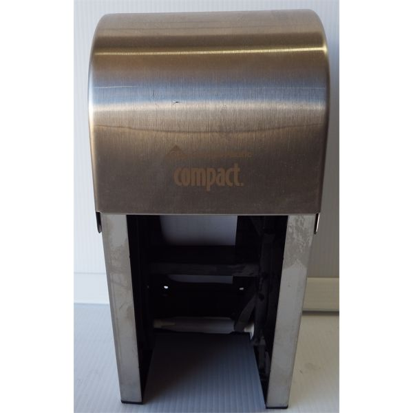 New Compact 2 Roll Vertical Brushed Steel Toilet Paper Dispenser