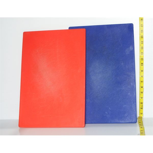 """Lot of 2 Used Cutting Boards (1-red, 1-blue) 45"""" x 18"""""""