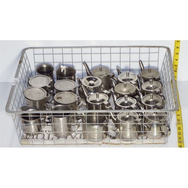Wire Basket of Single Use Metal Teapots and Metal Creamers