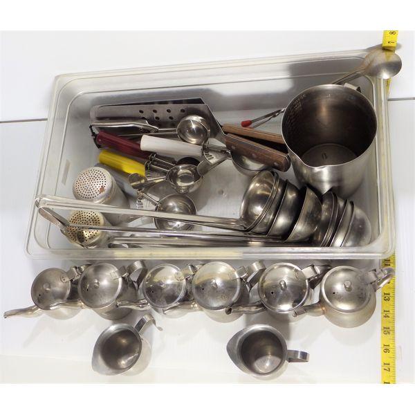 Bin of Misc Commercial Kitchen Utensils Incl Ladles, Spoons, Ice Cream Scoops, Cinnamon Shaker,