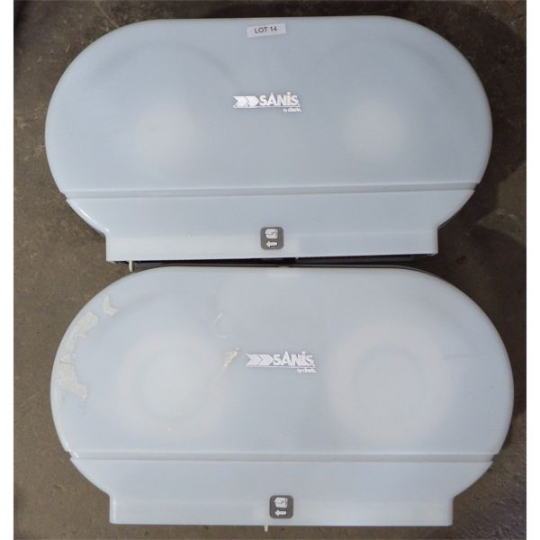 Lot of 2 Used Sanis by Cintas Double Large Roll Toilet Paper Dispensers
