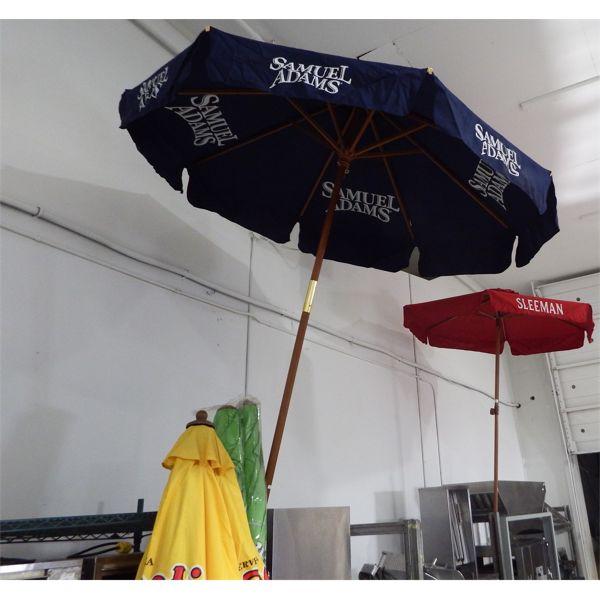 Lot of 6 Umbrellas - New Samule Adams, Sleeman and 2 Bud Light Lime - Used Coke and Sol