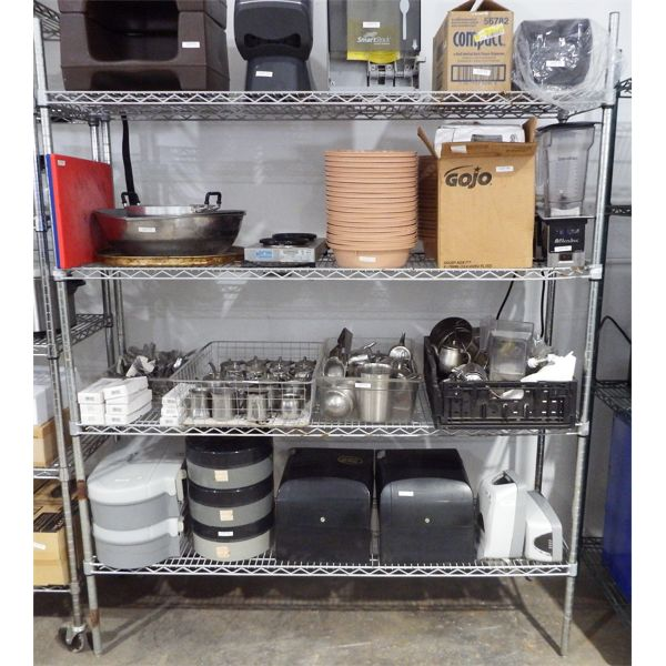 Used 60'' x 18'' 4 Level Chrome Shelf - Contents not included