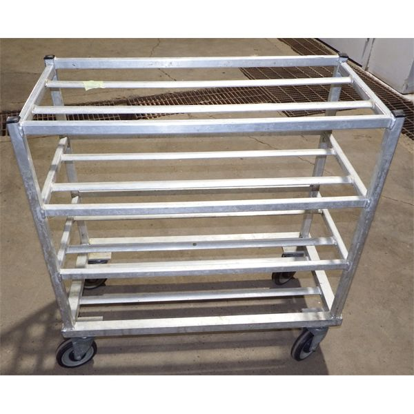 Used Rolling Cart With 4 Slat Shelves