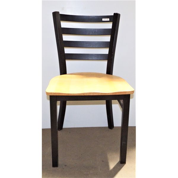 Used Chair Black Metal Frame with Wood Seat