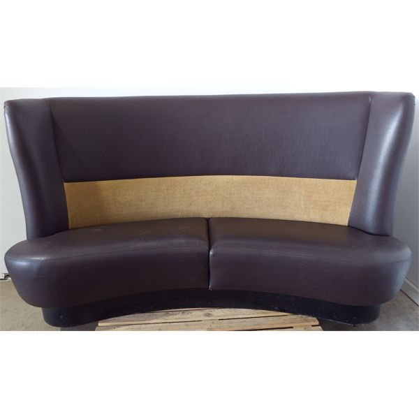 Used Curved Booth Seat Brown with Gold Accents