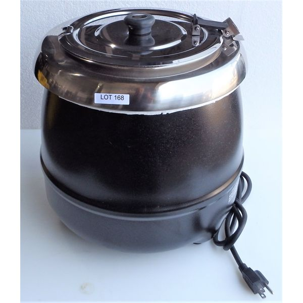 New 10L Soup Kettle, Hinged S/S Lid, Wet Operation, 86 Degrees to 212 Degress F, Removable S/S Pot,