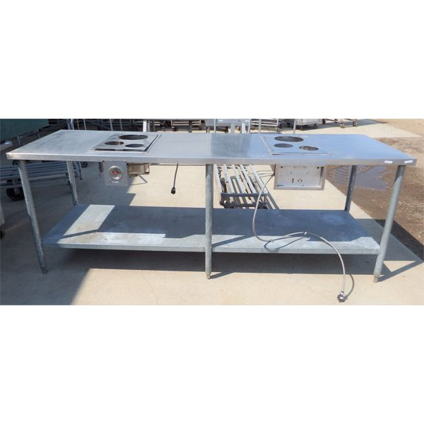 Used 30''x96'' SS Table with Heated Bins