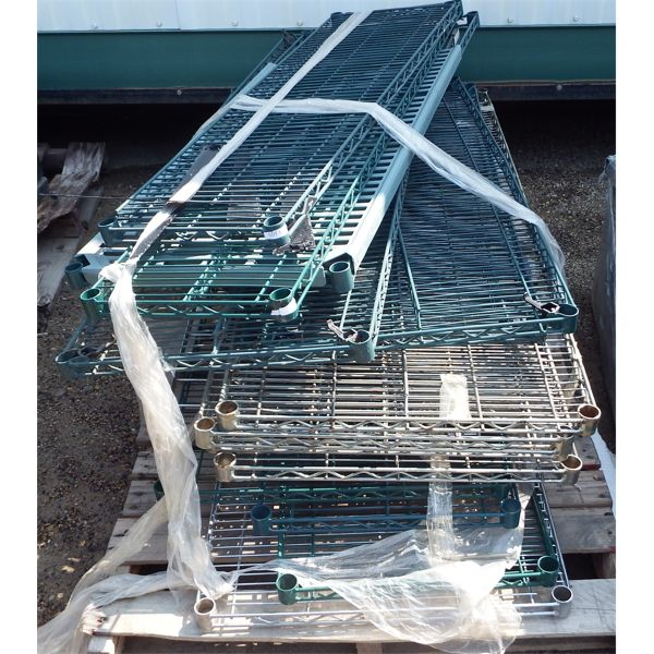 Pallet of 14 pieces Mixed Size Wire Chrome and Green Shelves