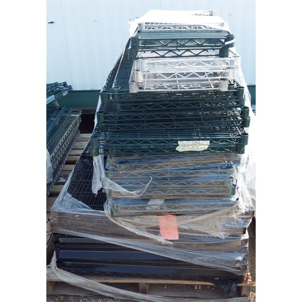 Pallet of 30 pieces Mixed Size Wire Chrome and Green Shelves