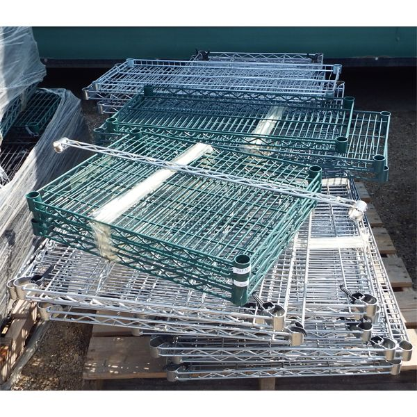 Pallet of 19 pieces Mixed Size Wire Chrome and Green Shelves