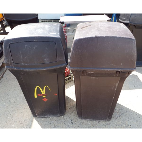 Lot of 2 Garbage Cans with Swing Door Hoods, Approx 20 Gal, One Black, One Brown