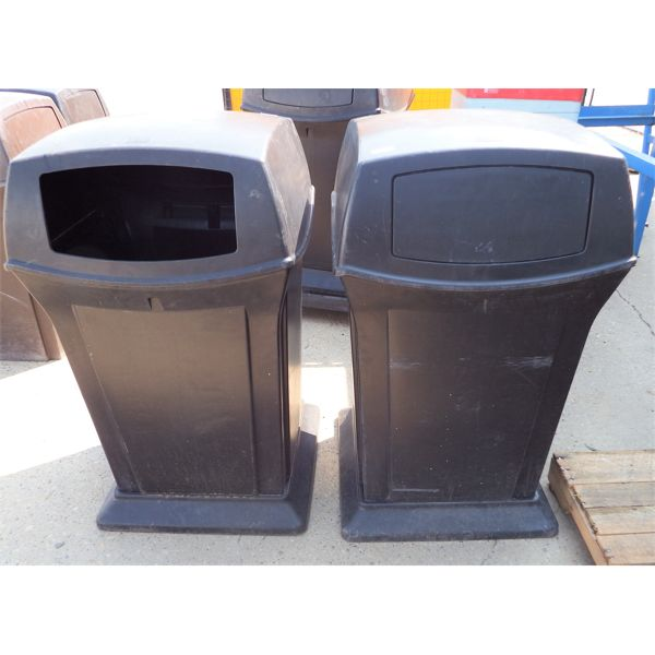 Lot of 2 Black Garbage Cans with Swing Door Hoods, Approx 25 Gal