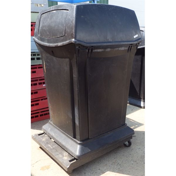 Black Garbage Can with Swing Door Hoods, Approx 25 Gal, On Casters