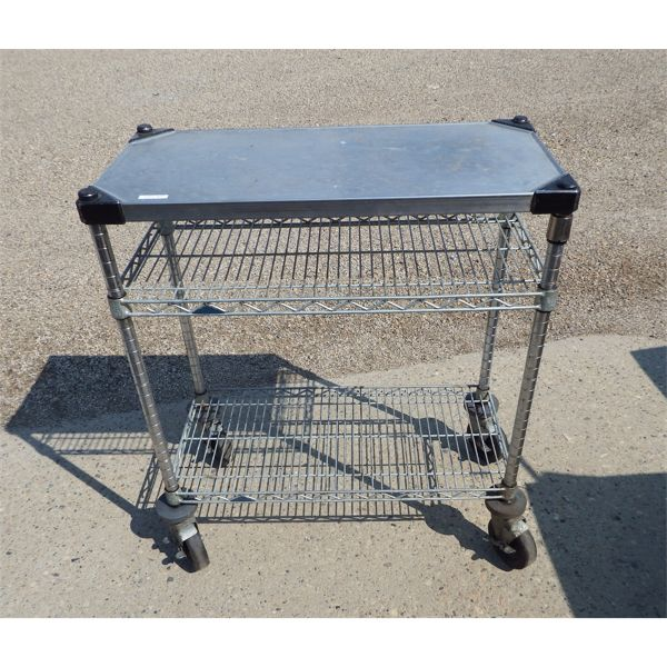 """3 Level Stainless Steel Cart on Casters, 30"""" W x 14"""" D x 34 1/2"""" H"""