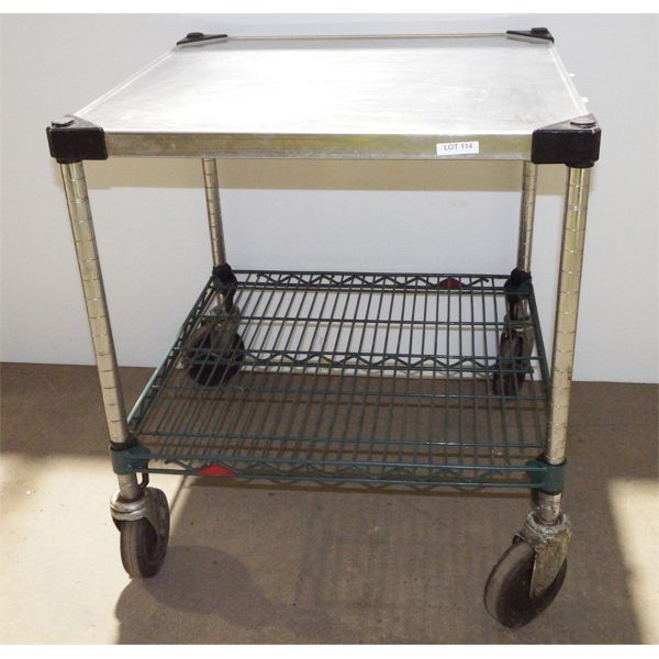 """2 Level Stainless Steel Cart on Casters 24"""" x 24"""" x 26 1/2""""H, Solid Top"""