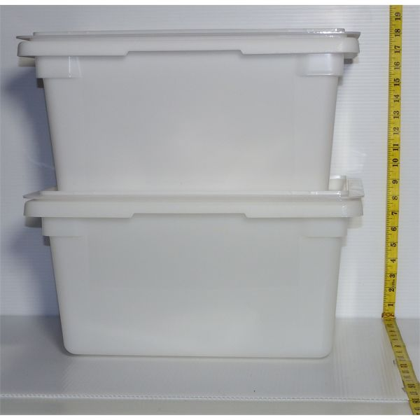 Lot of 2 New Ply Natural White 18L Food Storage Box with Lids 18x12x9
