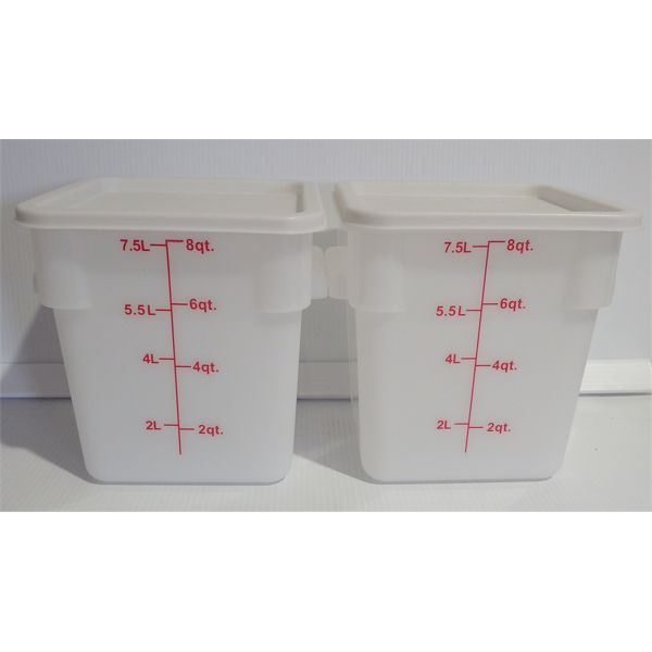 Lot of 2 New 8 Qt White Poly Square Food Storage Containers with Lids